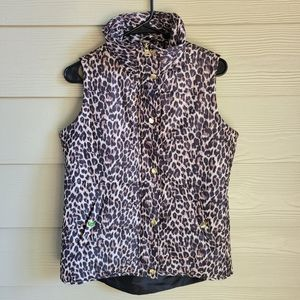 Style & Co Sport Cheetah Print Golden Puffer Vest